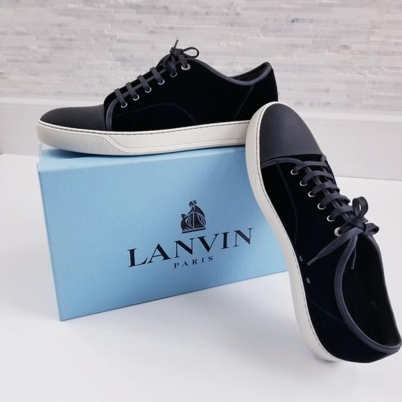 Lanvin Paris Blue Velvet Sneaker